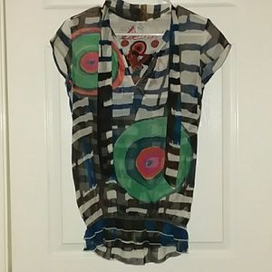 Desigual sheer colorful top size small